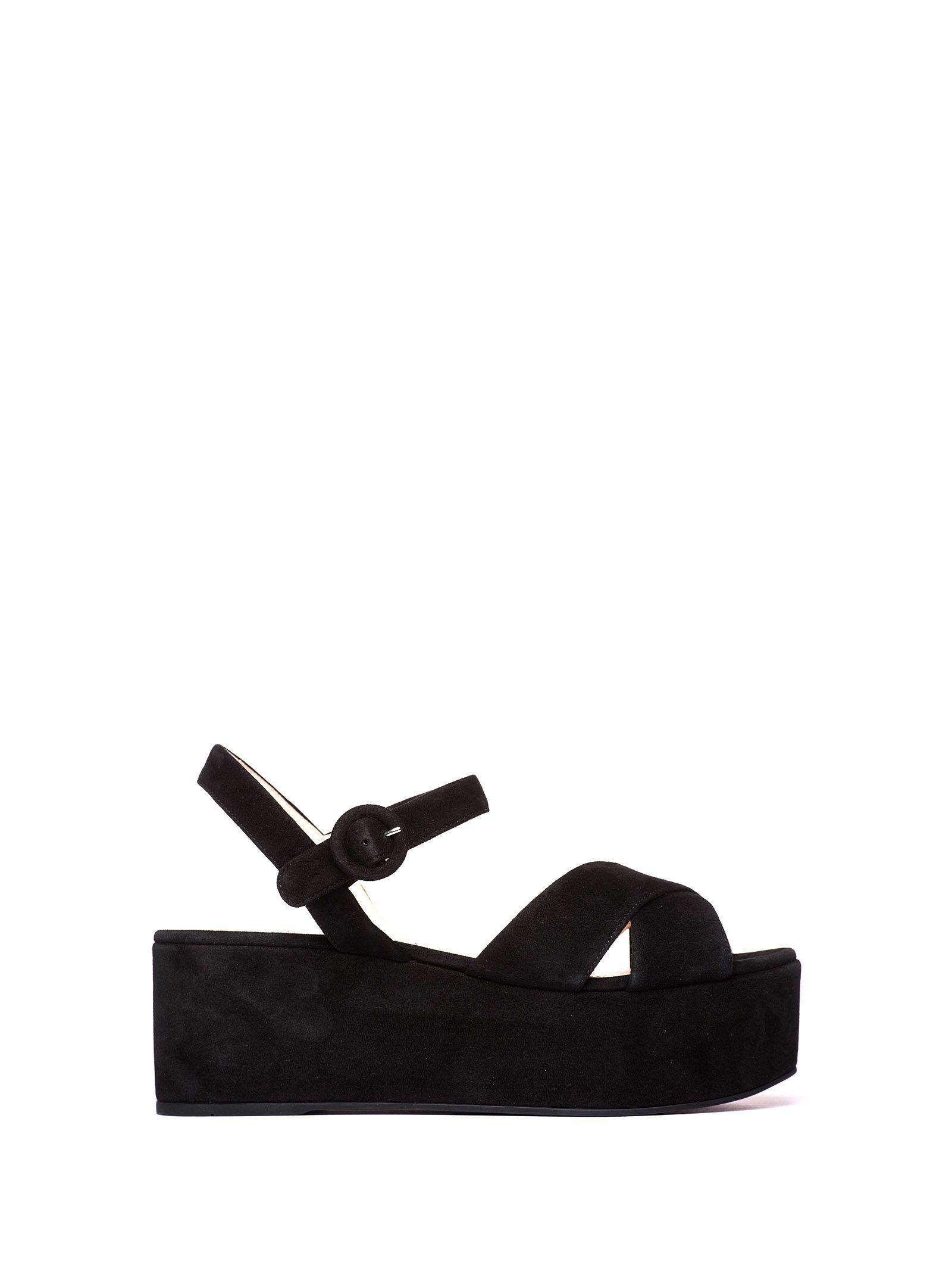 ea6a3f85436 Prada Suede Wedge Platform Sandals In Black