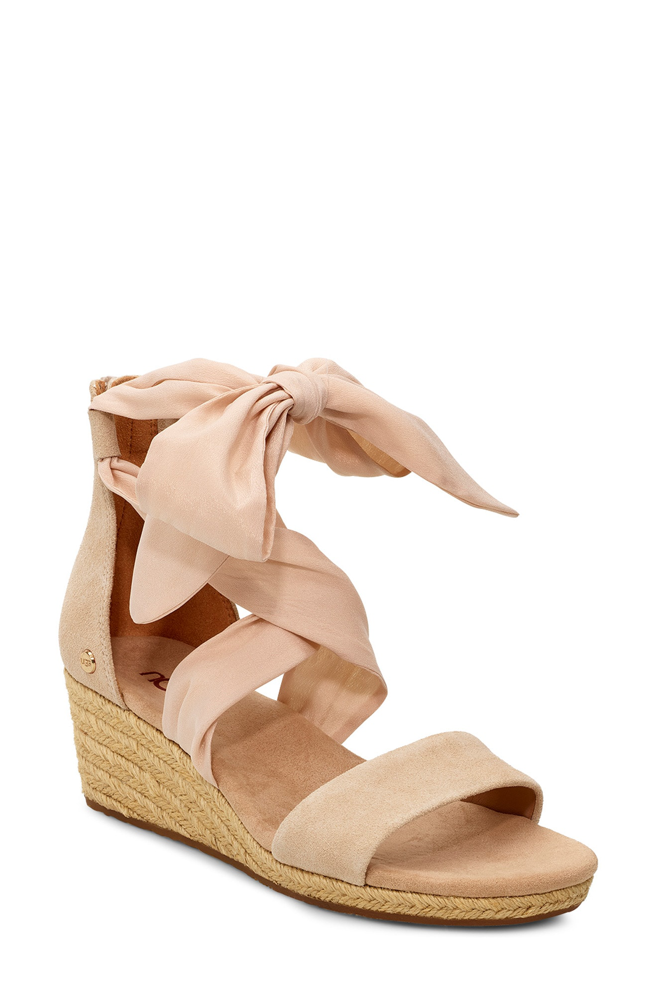 e6793bf40db Ugg Trina Ribbon Tie Wedge Sandal in Nude Leather