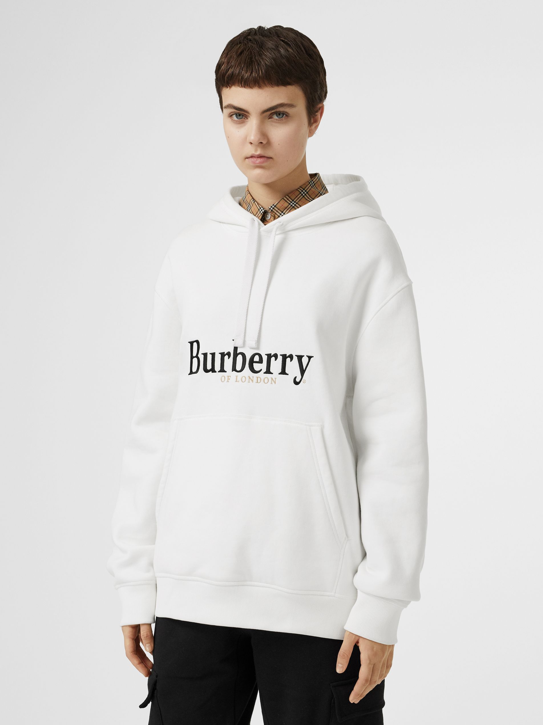 Burberry Pelorus Archive Logo Embroidered Hoodie In White