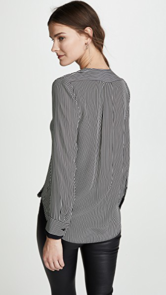 0739ec63a0284 Rag   Bone Victor Stripe Silk Blouse In White Black Stripe