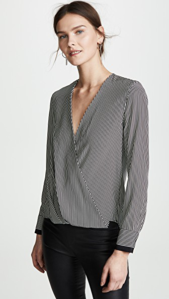 f3cf79fbc15b7 Rag   Bone Victor Stripe Silk Blouse In White Black Stripe