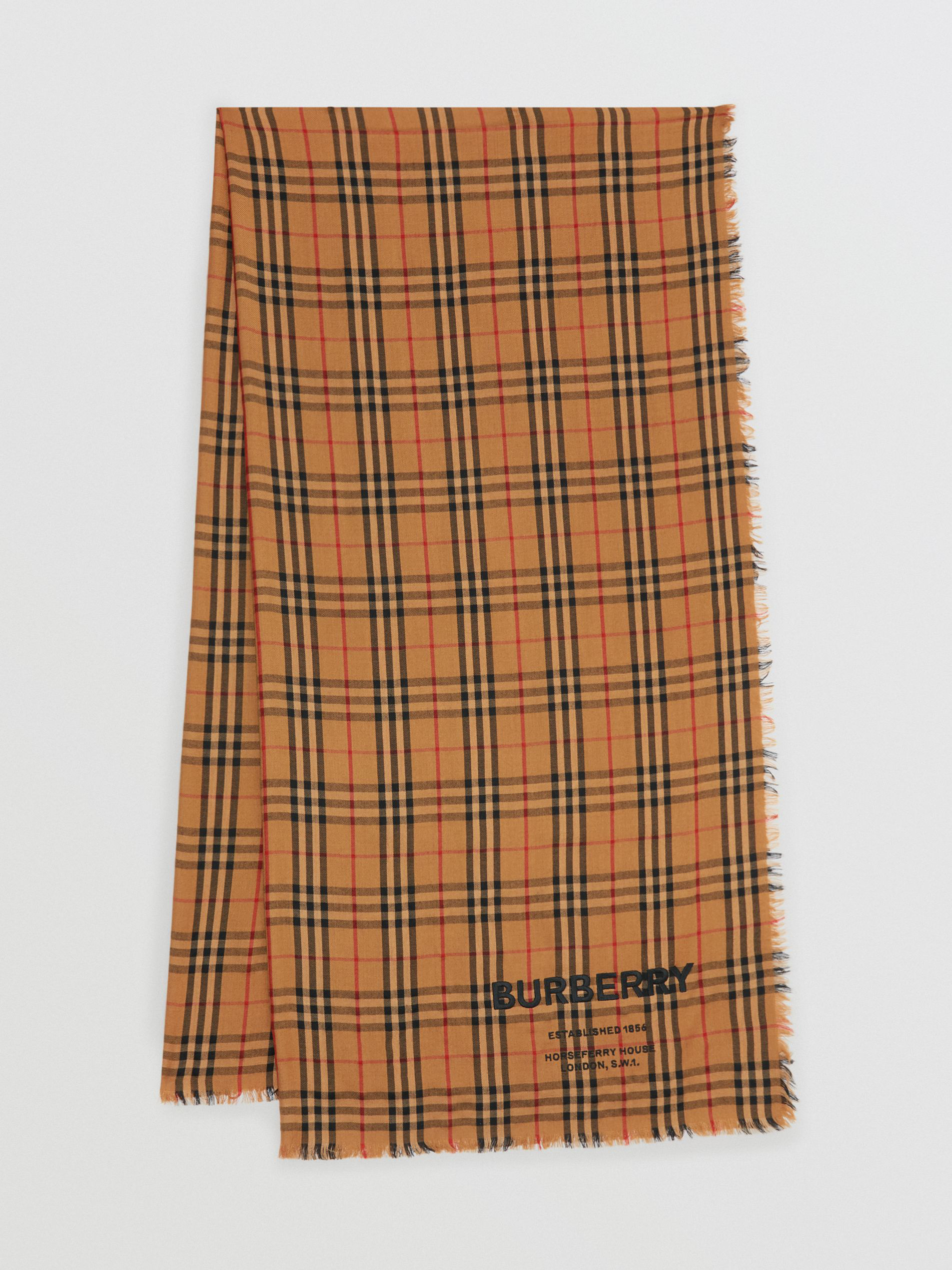 Burberry Embroidered Vintage Check Lightweight Cashmere Scarf In Camel
