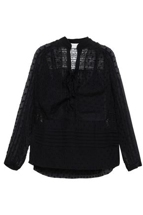 Zimmermann Woman Lace-Paneled Fil Coupé Blouse Black