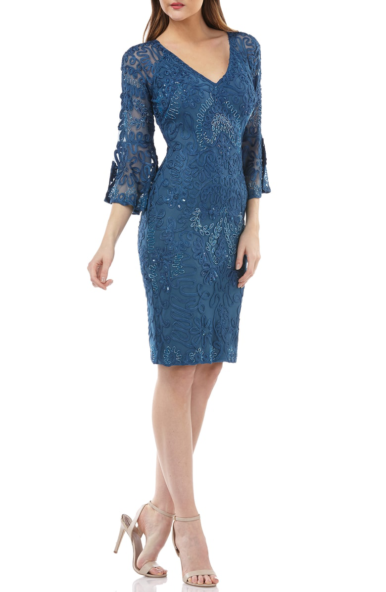053971b3b1c Js Collections Bell Sleeve Bead   Soutache Cocktail Dress In Mineral Blue