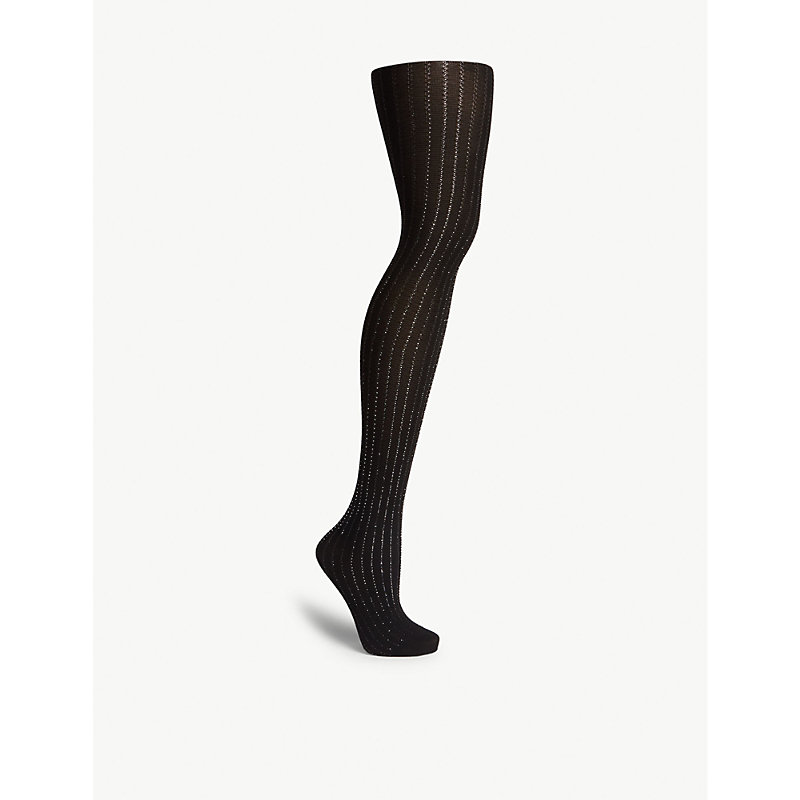 54dc3e86b19 Wolford Sparkle Strip Tights In 7124 Black Silver