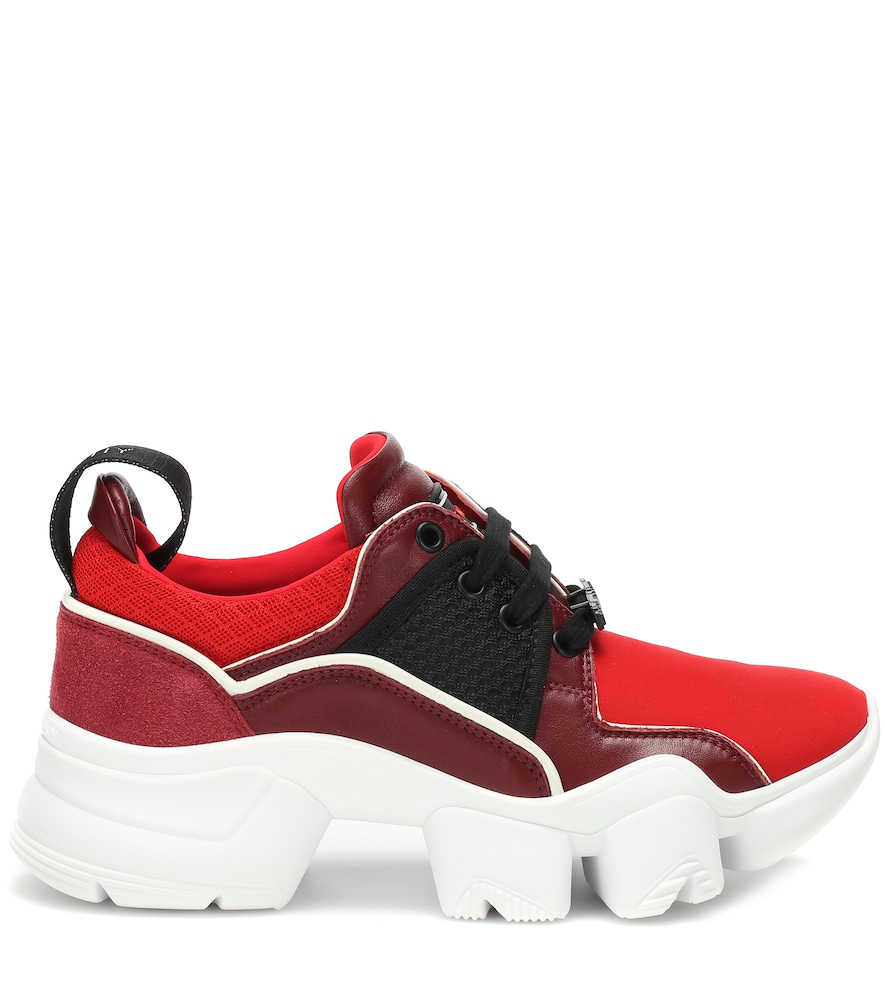 GIVENCHY Low Jaw leather-trimmed sneakers,P00351669