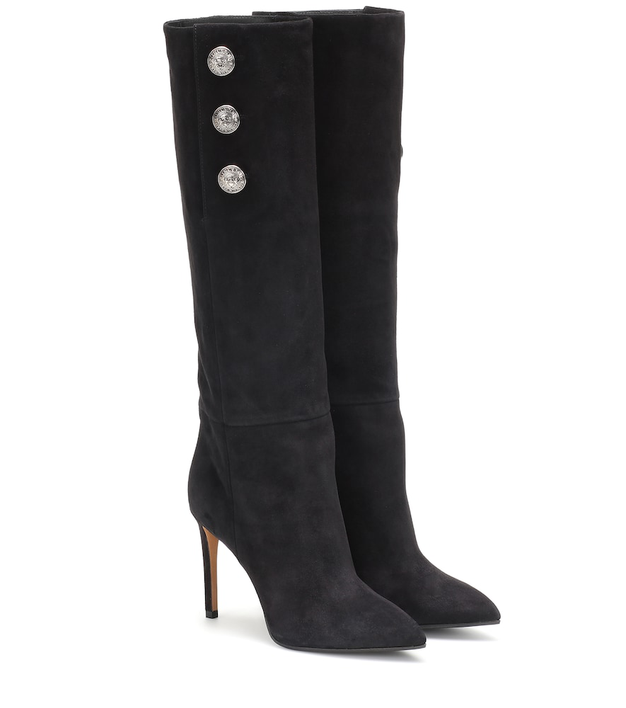 acd079d22a Balmain Jane Button-Embellished Suede Knee Boots In 0Pa Black | ModeSens