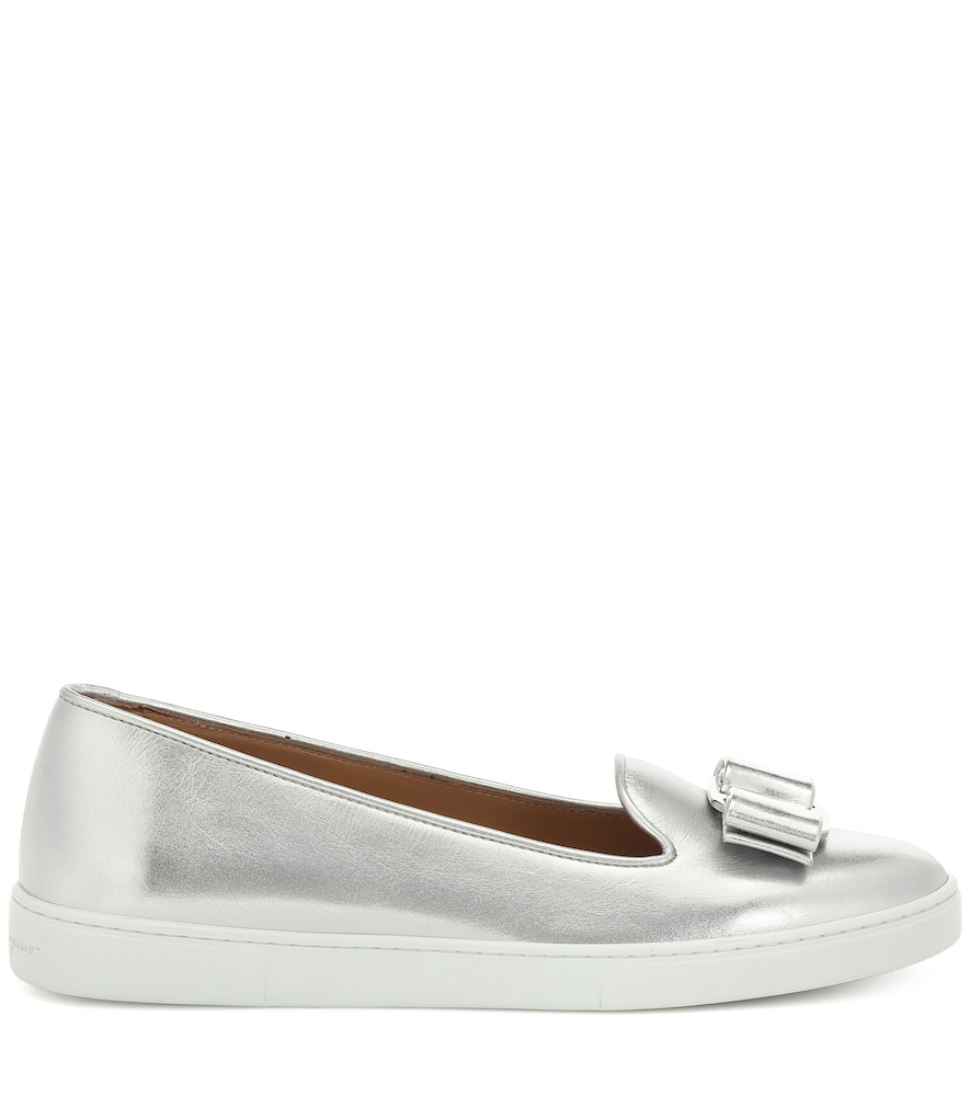 3d8e4053aa6ba Salvatore Ferragamo Women s Novello Slip-On Sneakers In Silver ...