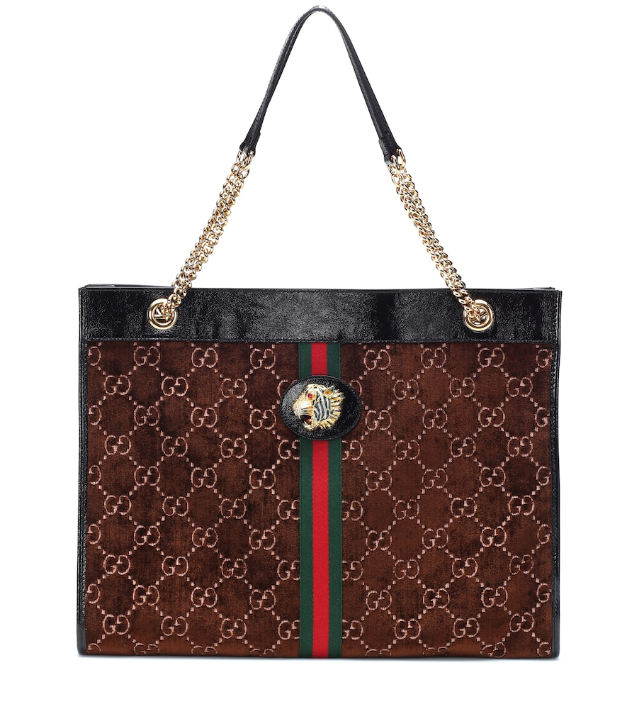 67c30b24b52 Gucci Rajah Gg Velvet And Leather Tote Bag In Brown