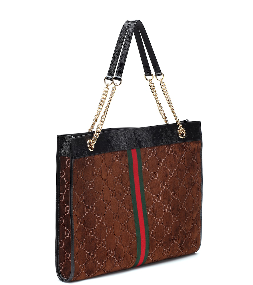 367e79651056 Gucci Rajah Gg Velvet And Leather Tote Bag In Brown | ModeSens