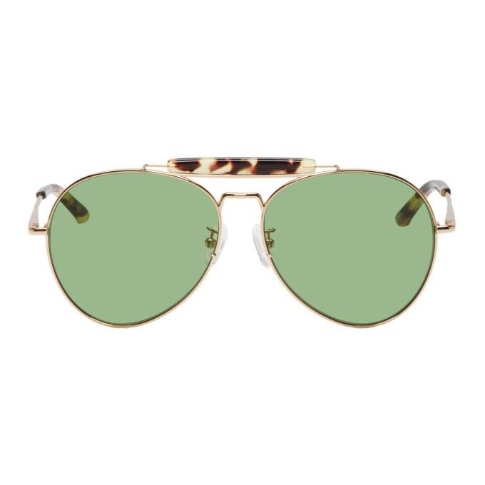 5c865450295 Dries Van Noten Gold And Tortoiseshell Linda Farrow Edition 187 C5  Sunglasses In Ygold Green