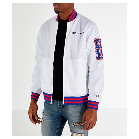 05b33d64 Champion Men's C-Life Colorblocked Satin Bomber Jacket In White ...