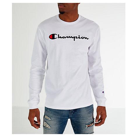 fc2af08b Champion Men's Heritage Logo Long Sleeve T-Shirt, White | ModeSens