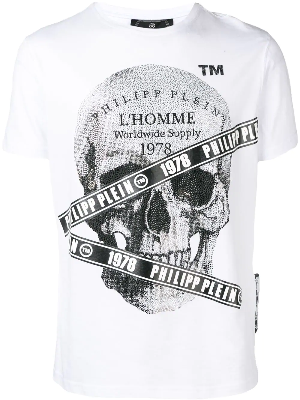 f4aae165aac Philipp Plein Microstud Tape Skull T-Shirt - White   ModeSens