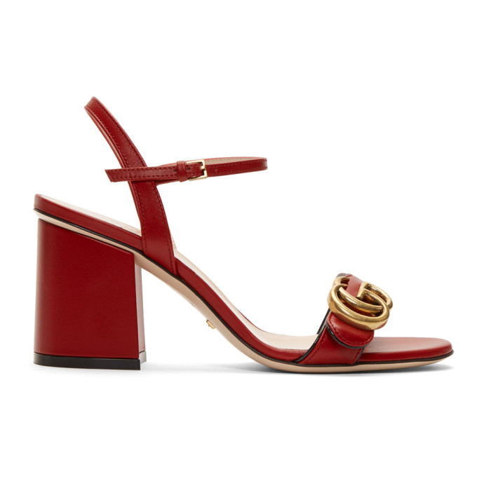 b5e858c3c Gucci Marmont Logo-Embellished Leather Sandals In Red | ModeSens