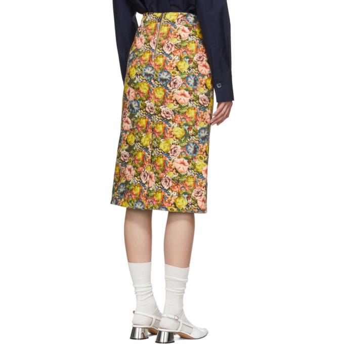 7ec74fb54 Marni Multicolor Denim Flowers Pencil Skirt In Ely48 Acid   ModeSens