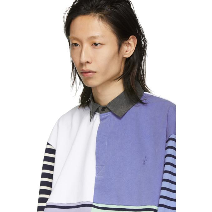 a262785b J.W.Anderson Jw Anderson Patchwork Rugby Jersey Long Sleeve Polo Shirt -  Blue In China Blue