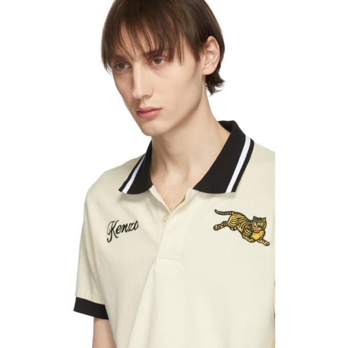 0592b3bf Kenzo Jumping Tiger Cotton-PiquÉ Polo Shirt In 03 Ecru   ModeSens