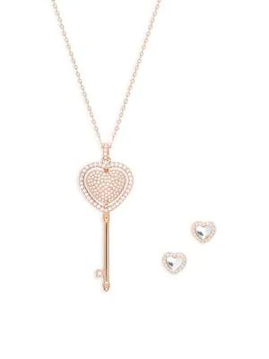 Swarovski Crystal Reversible Pendant Necklace Earrings Set In Rosetone