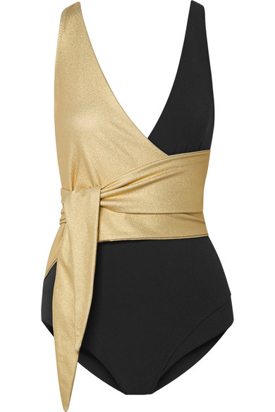 1a1ac7f697f Lisa Marie Fernandez Dree Louise Metallic Wrap One-Piece Swimsuit In Black
