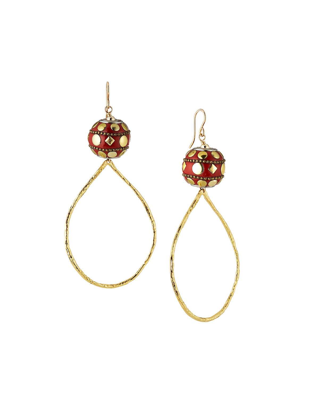011b1126fb4d4 Bead & Teardrop Hoop Earrings in Red