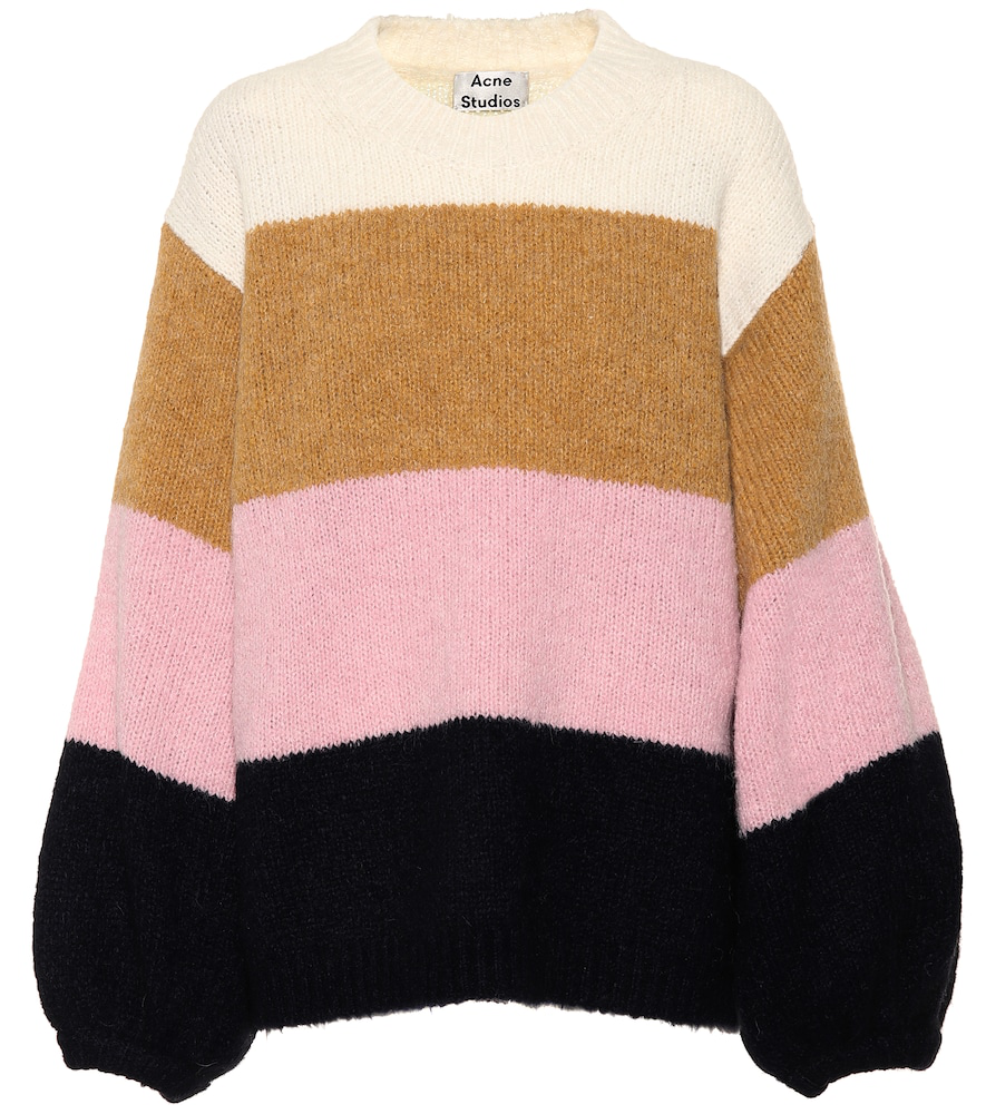 1d0e2043ce4 Acne Studios Kazia Oversized Striped Knitted Sweater In Pink   Navy Multi