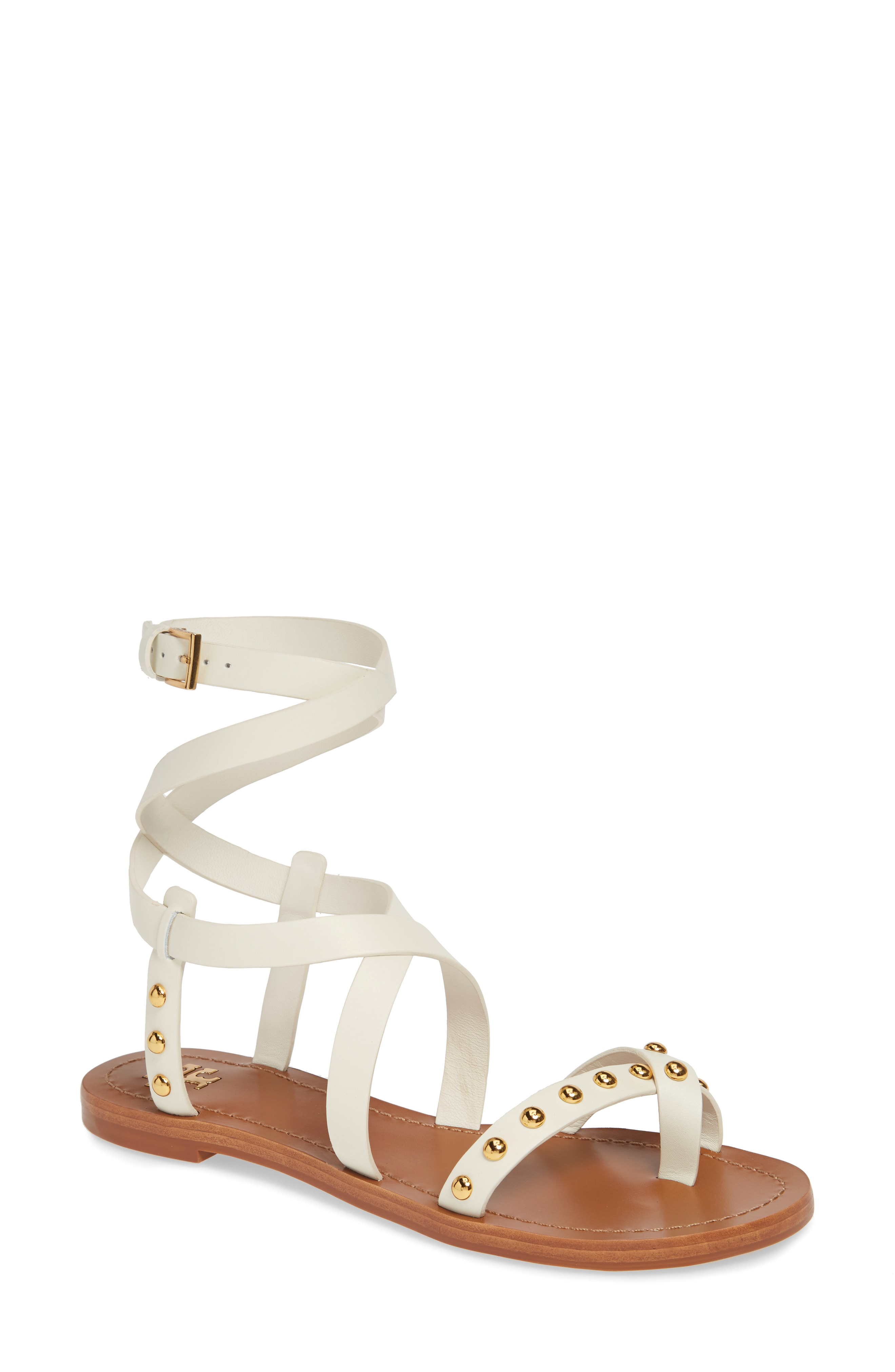 Tory Burch Ravello Studded Cage Sandal In Perfect Ivory Modesens