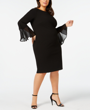 Calvin Klein Plus Size Illusion Bell-Sleeve Dress In Black | ModeSens