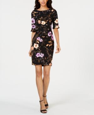 dde314ef Calvin Klein Petite Dark Floral-Print Sheath Dress In Black Floral ...
