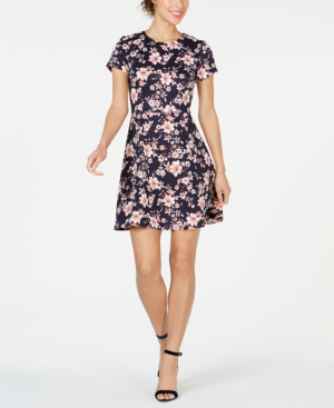 2a868cc8183 Vince Camuto Floral Print Scuba Crepe Fit   Flare Dress In Navy ...