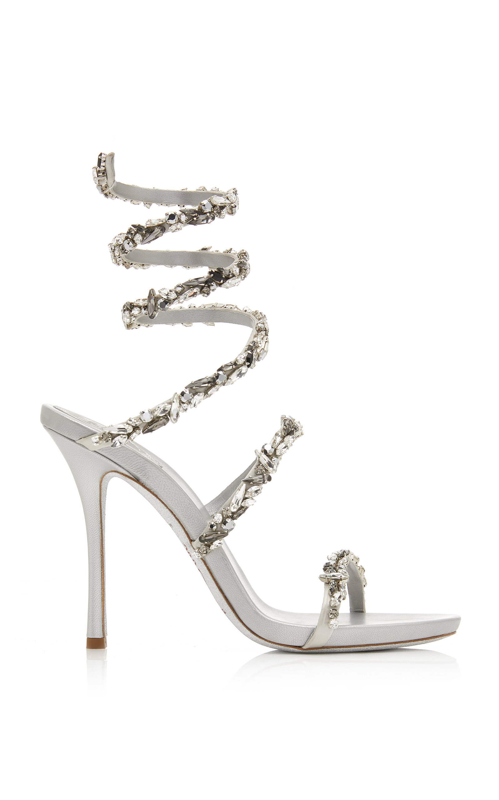 c9ff04977 RenÉ Caovilla Crystal-Embellished Satin Snake-Coil Sandals In Silver ...