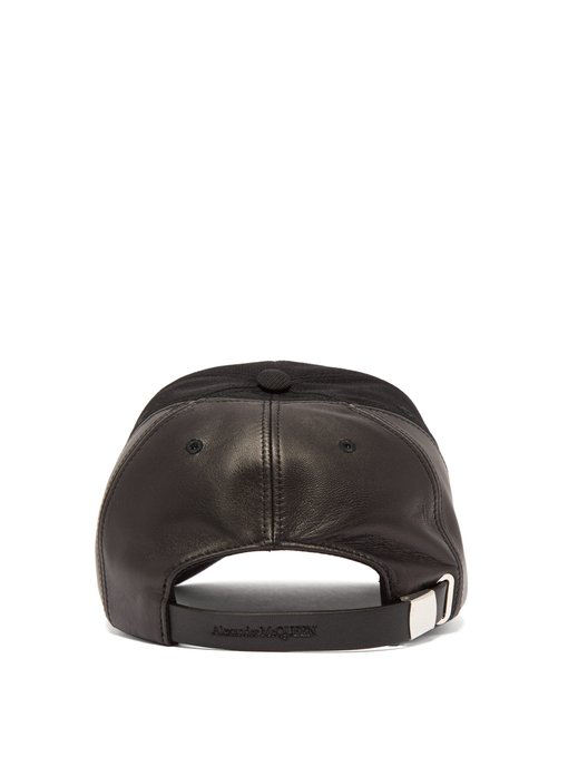 ALEXANDER MCQUEEN Logo-embroidered leather-panelled cotton cap