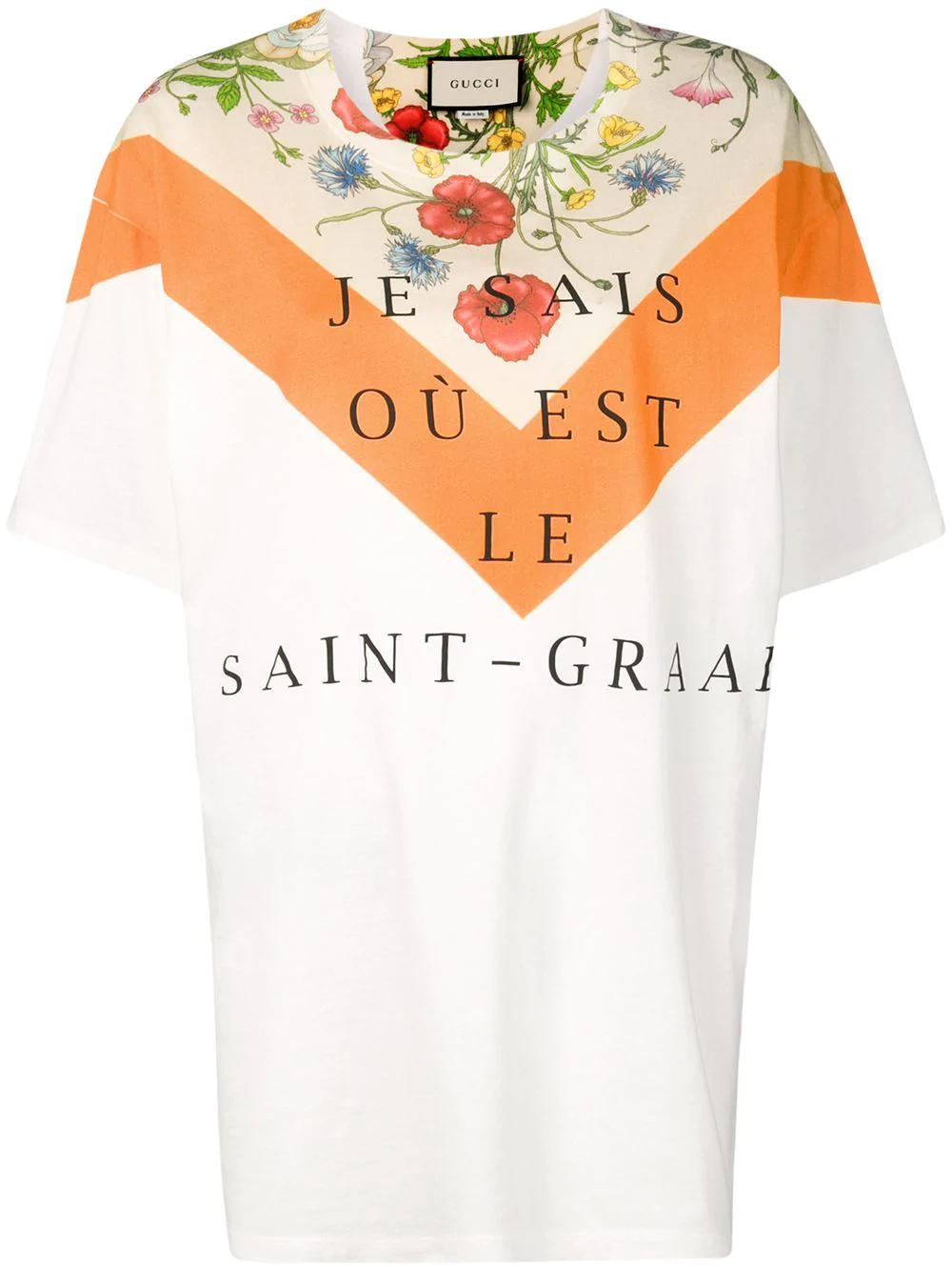 82669129 Gucci Oversized-T-Shirt Mit Blumen-Print - Nude In Neutrals | ModeSens