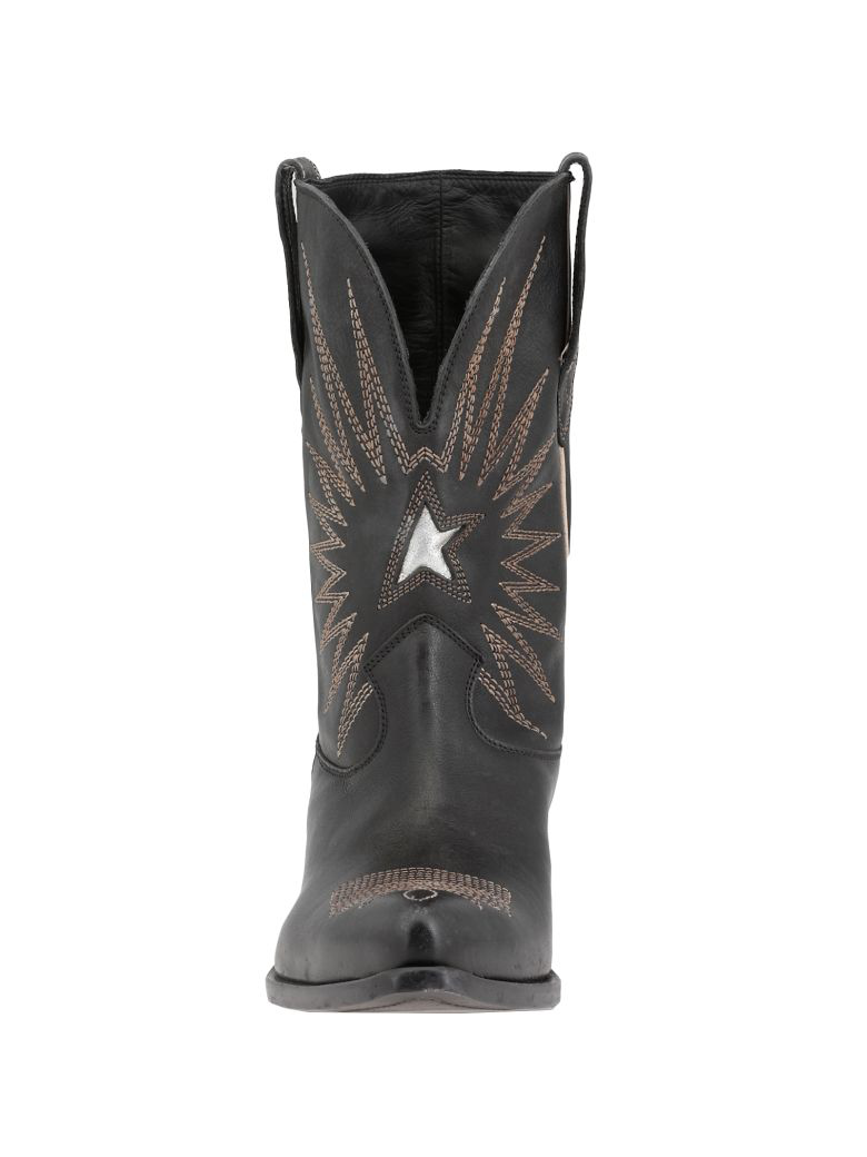 037984bcd72e Golden Goose Wish Star Embroidered Textured-Leather Cowboy Boots In Black