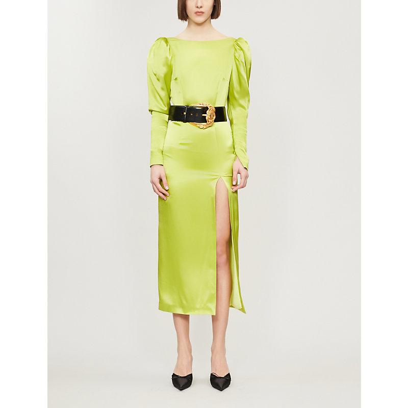 3ed4152ec211a 16 Arlington Puffed-Shoulder Silk Dress In Lime Silk