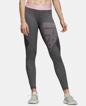 2b18fe7ece1b2 Adidas Originals Adidas Alphaskin Climacool Logo Leggings In Dark Grey  Heather/Pink