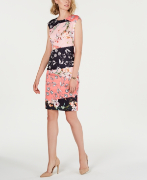 16129659 Vince Camuto Floral Print Scuba Crepe Sheath Dress In Pink | ModeSens