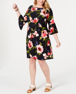 Plus Size Corsage Floral Bell-Sleeve Dress in Navy Multi