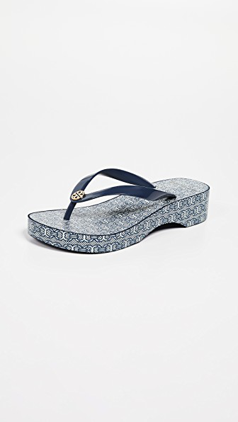 fa1a89fc2073 TORY BURCH Women s Cut-Out Wedge Flip-Flops in Tory Navy Gemini Link. Tory  Burch Women