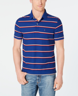 be90cf8b Tommy Hilfiger Men's Marcus Striped Polo In Mazarine Blue | ModeSens