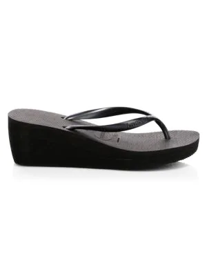 8206864671ee Havaianas High Fashion Wedge Flip Flops In Black