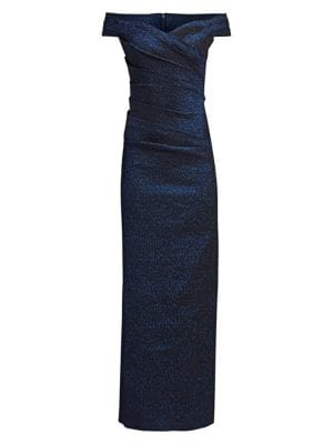 6c71433b97e93 Teri Jon By Rickie Freeman Off-The-Shoulder Metallic Jacquard Column Gown  In Navy