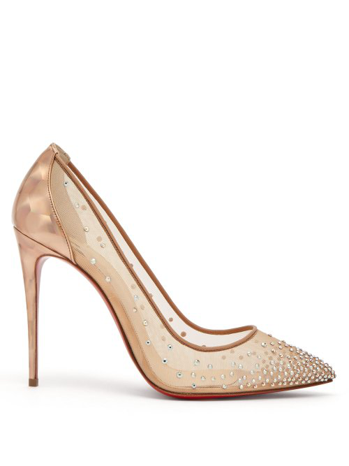 54dad65d233 Christian Louboutin - Follies Strass 100 Holographic Heel Mesh Pumps -  Womens - Nude Gold