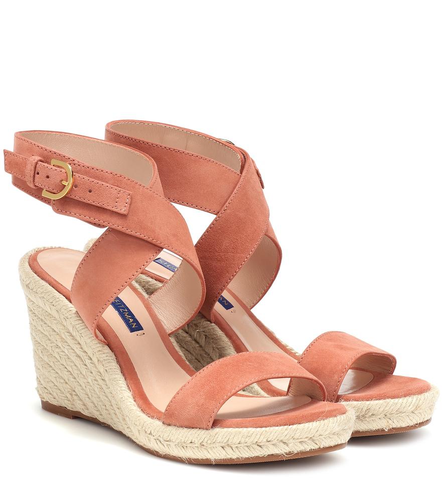 44b2a64f66f55 Stuart Weitzman Lexia Suede Wedge Sandals In Pink | ModeSens