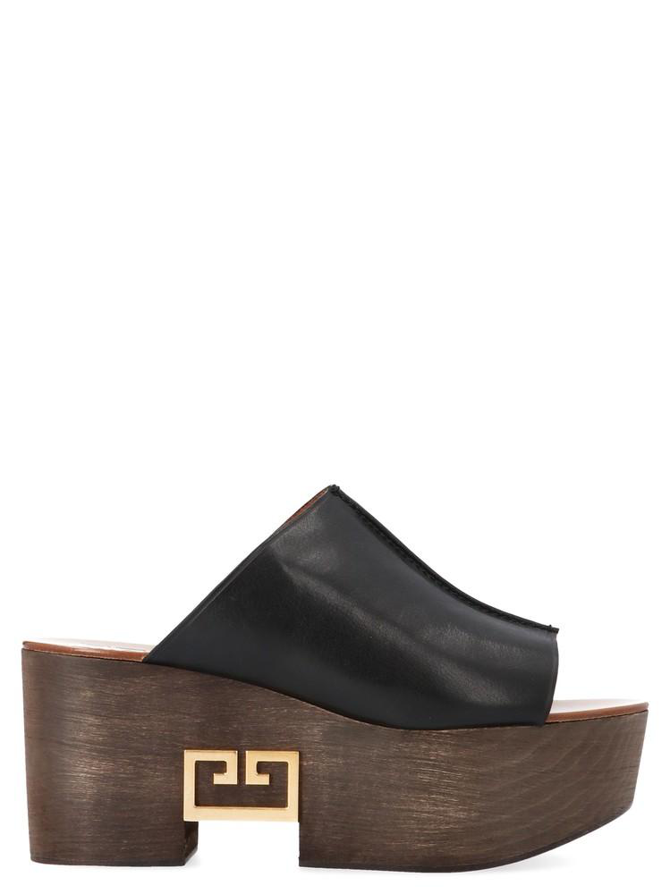 507fdcb82a0e Givenchy Logo-Plaque Platform Leather Mules In Black