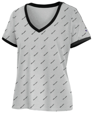 e254c02d3dda62 Champion Heritage Cotton Logo-Print T-Shirt In Diagonal Logo Oxford Grey