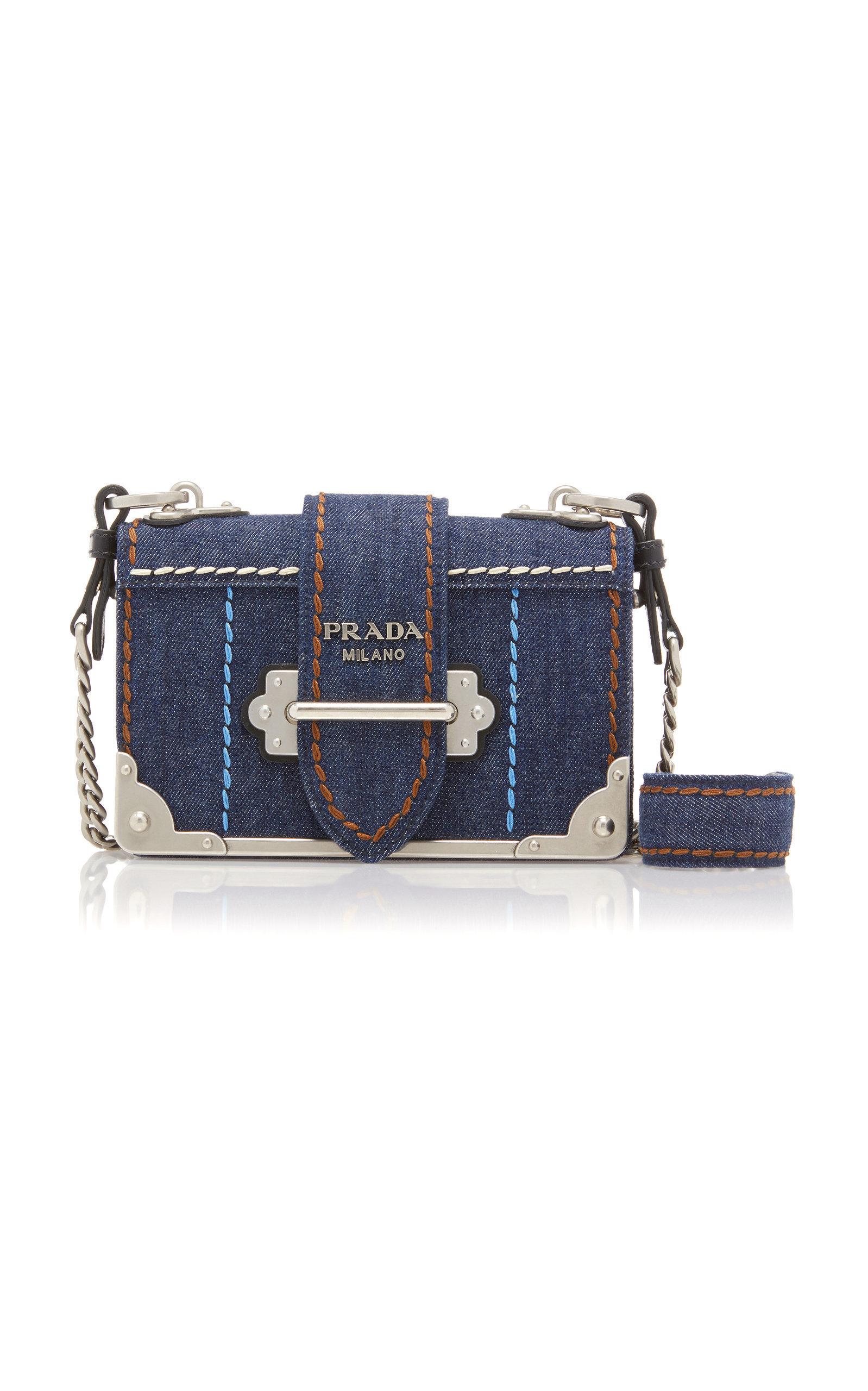 2db011079c7d Prada Cahier Leather-Trimmed Denim Shoulder Bag In Blue