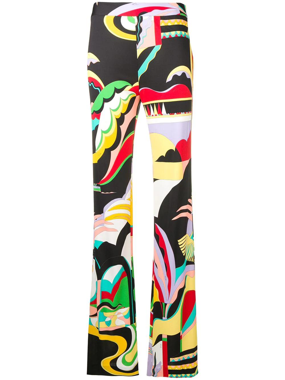 2f57b303301 Emilio Pucci La Villa Print Flared Trousers - Black | ModeSens