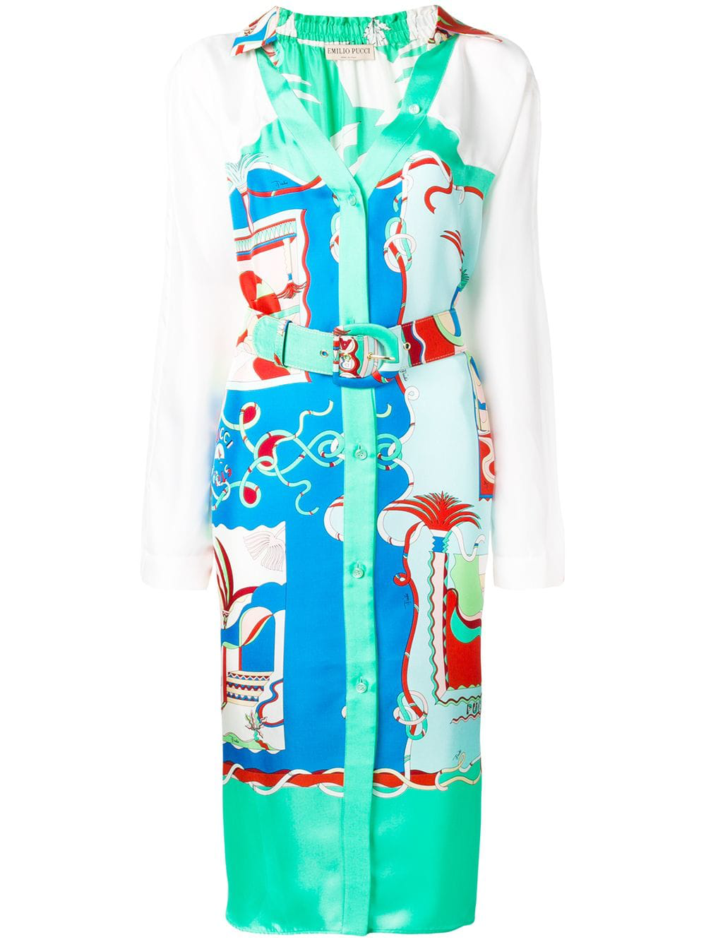ba54bf866d7 Emilio Pucci La Villa Print Belted Silk Shirt Dress - Blue | ModeSens