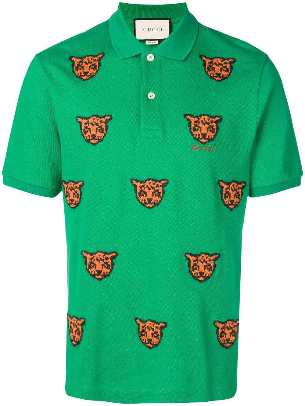 2d633a2995f674 Gucci Embroidered Tiger Polo Shirt - Green In 3134 Green   ModeSens